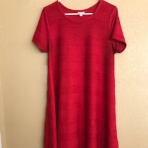 Textured true red Carly swing dress